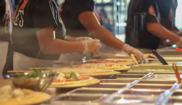 Blaze Pizza Assembly Closeup
