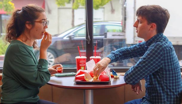 Wendy's Couple Eating Fries